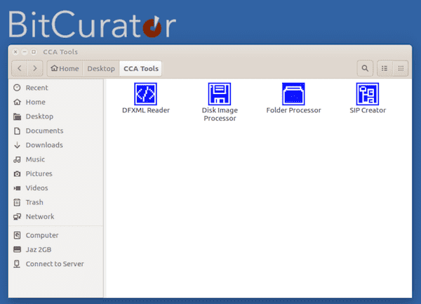 CCA Tools on BitCurator desktop